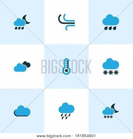 Nature Colored Icons Set. Collection Of Fog, Snowfall, Rainstorm And Other Elements. Also Includes Symbols Such As Gust, Fog, Weather.