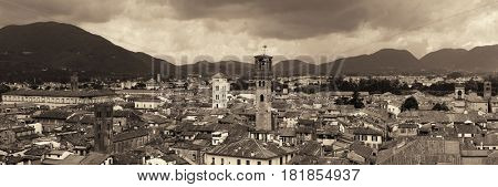 Lucca skyline with tower and cathedral panorama in Italy