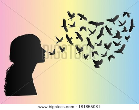 Silhouette of a woman and a flock of birds in heart shape