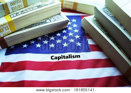 Capitalism ( Money Bundles On The American Flag High Quality )