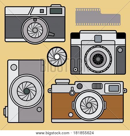 Retro vintage photo cameras set. Flat photo camera icon optical classic camera. Digital flat photo camera silhouette isolated. Vector illustration.