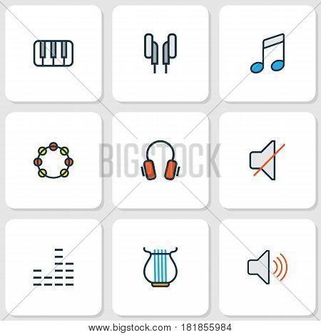 Multimedia Colored Outlines Set. Collection Of Volume, Sound, Keys And Other Elements. Also Includes Symbols Such As Volume, Headphone, Sound.