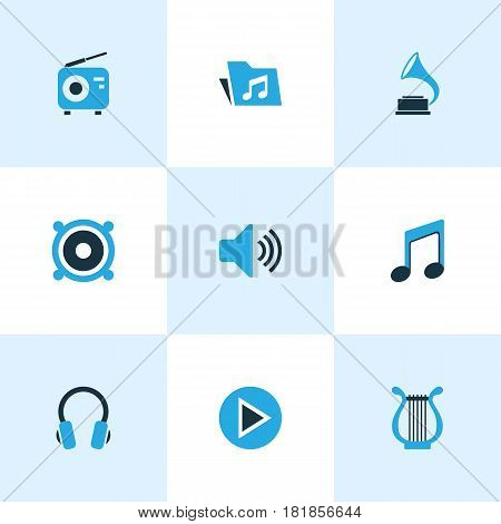Audio Colored Icons Set. Collection Of Speaker, Note, Volume And Other Elements. Also Includes Symbols Such As Antique, Lyre, Speaker.