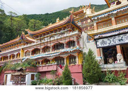 Sichuan, China - Jul 17 2014: Nanwu Monastery. A Famous Lamasery In Kangding, Sichuan, China.