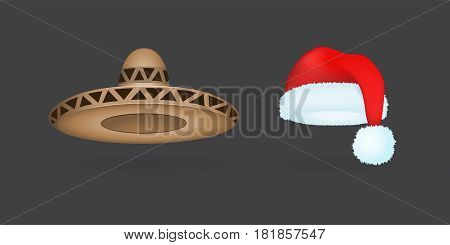 Different kind of fashion hat modern elegance cap element and garment textile accessories top classic clothes vector illustration. Personal design style headdress clothing.