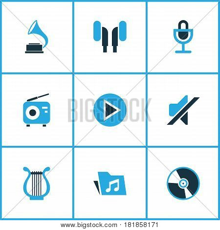 Multimedia Colored Icons Set. Collection Of Mute, Harp, Play And Other Elements. Also Includes Symbols Such As Radio, Lyre, Cd.