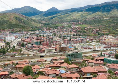 Luhuo, China - Sep 18 2014: Luhuo Town. A Famous Tibetan Town Of Luhuo, Sichuan, China.