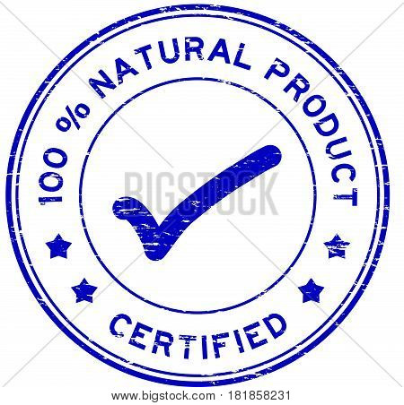 Grunge blue 100 percent natural product certified round rubber seal stamp