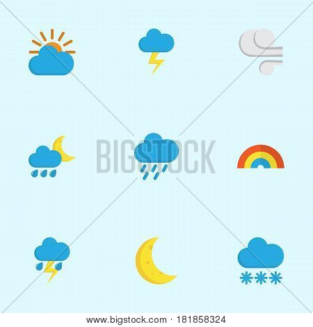 Climate Flat Icons Set. Collection Of Storm, Snow, Hailstones And Other Elements. Also Includes Symbols Such As Snow, Rainbow, Blizzard.