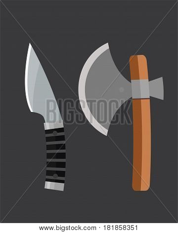 Knife weapon dangerous metallic ax vector illustration of sword spear edged set. Combat and bonder bayonet cold protection or attack steel arms. Warfare defense security traditional antique razor.