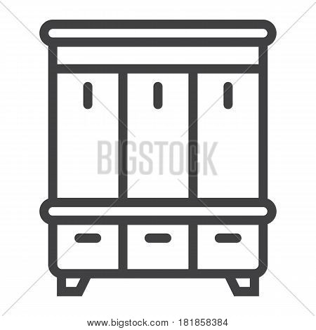 Hallway closet line icon, Furniture and interior element, halltree vector graphics, a linear pattern on a white background, eps 10.