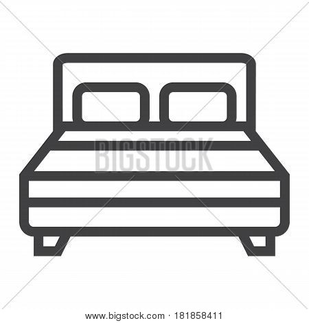 Double bed line icon, Furniture and interior element, vector graphics, a linear pattern on a white background, eps 10.