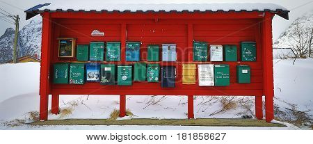 LOFOTEN NORWAY - MARCH 30 2017: Traditional mailboxes in the mountain village of Norway on March 30 2017 in Lofoten Islands - Norway.