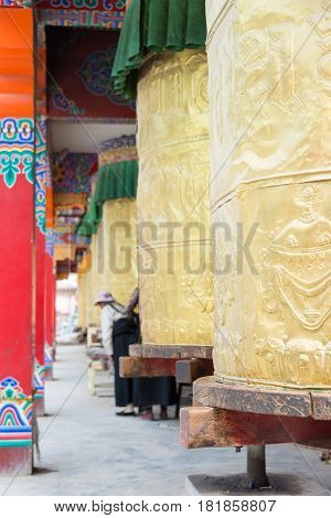 Yushu(jyekundo), China - Jul 13 2014: Mani Wheel, Mani Temple(mani Shicheng). A Famous Landmark In T