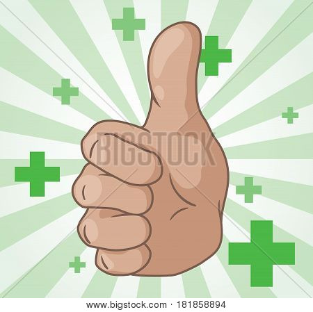 thumb up and plus symbols, simple colored cartoon vector illustration