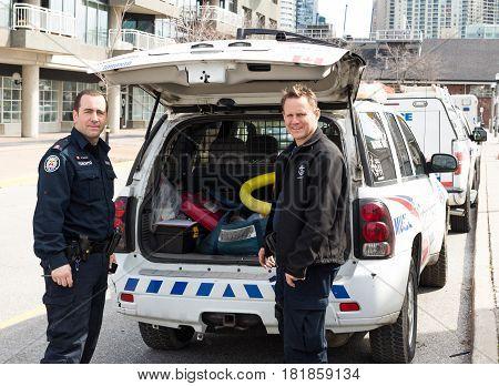 Toronto Ontario Canada - April.09.2017: Toronto Police officers preparing for work in Toronto Ontario Canada.