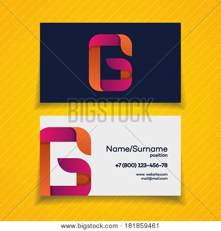 Business card design template with G letter logo modern color style on yellow background for your corporate identity business design use for game company, green firm etc. Vector Illustration