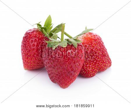 closeup strawberry isolated on white background. food
