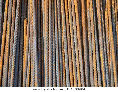 Steel bars background. Iron bars rustic background. Reinforcing bar background.