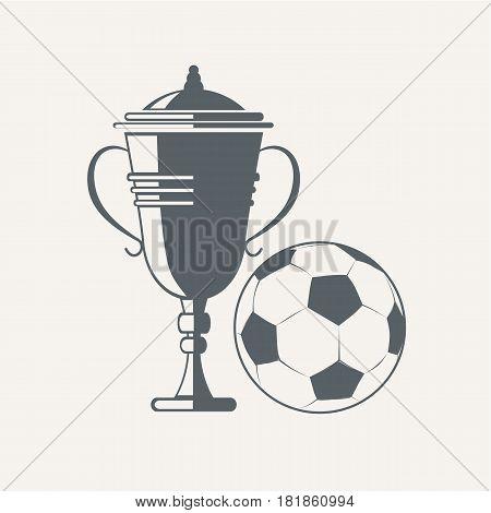 Soccer cup and ball. Emblem designs vector illustration