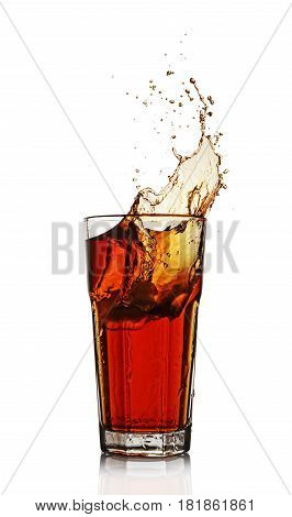Splash In Glass Of Black Tea With Ice