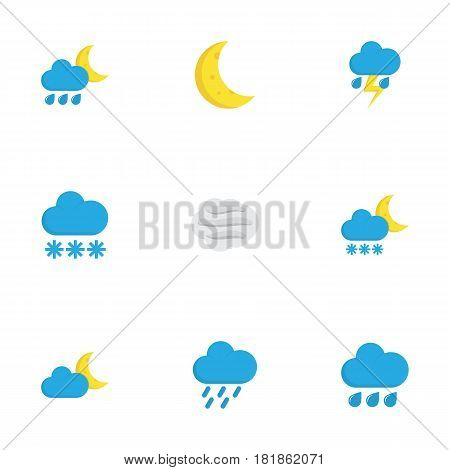 Nature Flat Icons Set. Collection Of Lightning, Crescent, Frosty And Other Elements. Also Includes Symbols Such As Lightning, Frost, Shower.