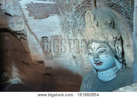 Bin, China - Nov 1 2014: Bin County Cave Temple(unesco World Heritage Site). A Famous Temple In Bin