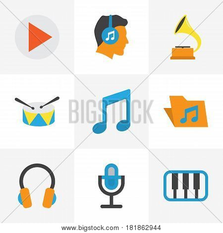 Music Flat Icons Set. Collection Of Pianoforte, Band, Tone Elements. Also Includes Symbols Such As Play, Phonograph, Headphone.