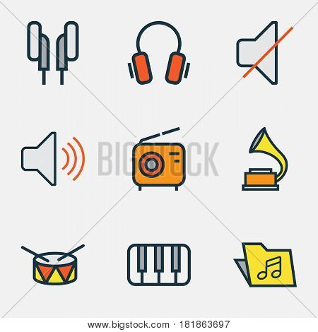 Multimedia Colored Outlines Set. Collection Of Keys, Headphones, Mute And Other Elements. Also Includes Symbols Such As Keys, Phonograph, Barrel.