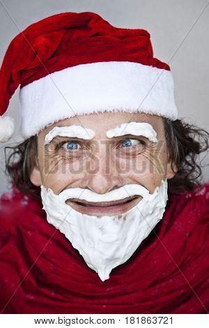 Portrait of bad Santa Claus. Christmas photoshoot