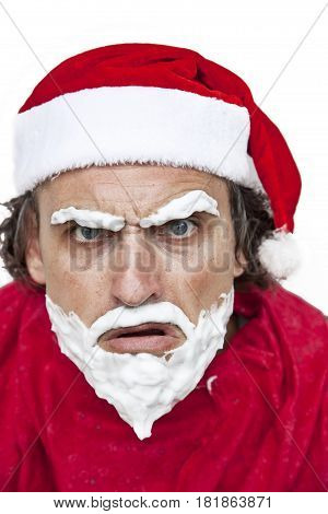 Portrait of a bad Santa. Crazy funny Santa