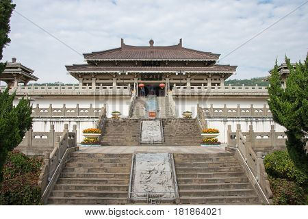Shaanxi, China - Oct 13 2014: Yan Emperor Temple. A Famous Historic Site In Baoji, Shaanxi, China.