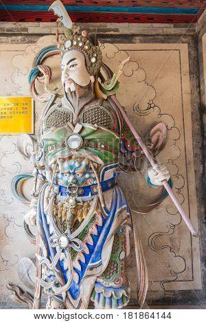 SHAANXI CHINA - OCT 21 2014: Statue of Ma Dai at Wuzhangyuan Zhuge Liang Temple. a famous Historic Site in Baoji Shaanxi China.
