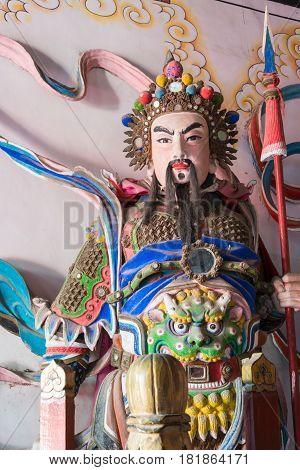 Shaanxi, China - Oct 21 2014: Statue Of Wang Ping At Wuzhangyuan Zhuge Liang Temple. A Famous Histor