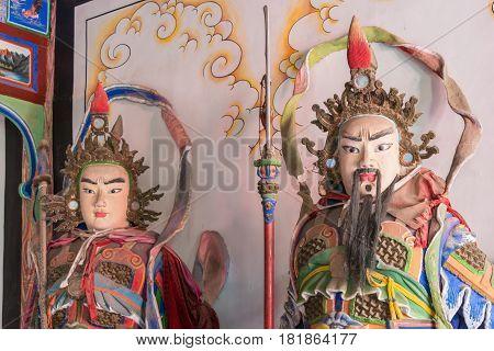 Shaanxi, China - Oct 21 2014: Statues Of Zhang Bao,liao Hua At Wuzhangyuan Zhuge Liang Temple. A Fam