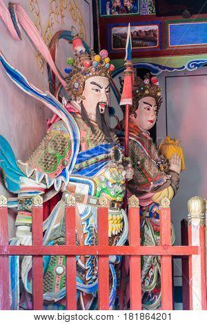 Shaanxi, China - Oct 21 2014: Statues Of Wang Ping,guan Xing At Wuzhangyuan Zhuge Liang Temple. A Fa