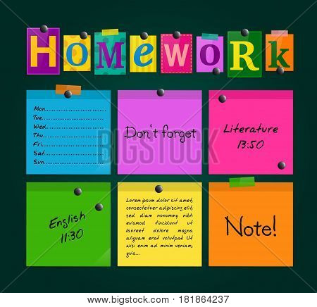 Text Homework and colorful sticky paper attached to a blackboard with magnets.