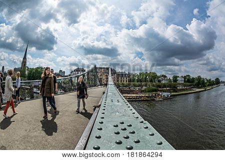 Iron Bridge In Frankfurt Am Main City