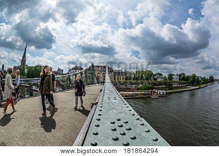 Iron Bridge In Frankfurt Am Main City