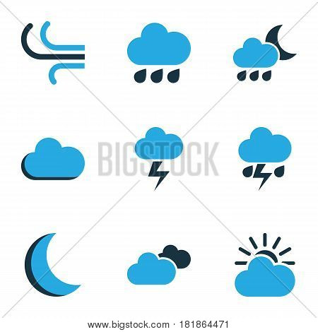 Nature Colored Icons Set. Collection Of Fog, Overcast, Lightning And Other Elements. Also Includes Symbols Such As Breeze, Moon, Weather.
