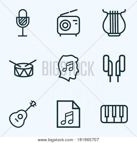 Audio Outlines Set. Collection Of Barrel, Stringed, Cover And Other Elements. Also Includes Symbols Such As Guitar, Radio, Wireless.