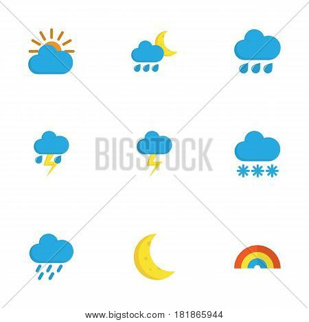 Climate Flat Icons Set. Collection Of Sunny, The Flash, Bow And Other Elements. Also Includes Symbols Such As Flash, Winter, Moon.