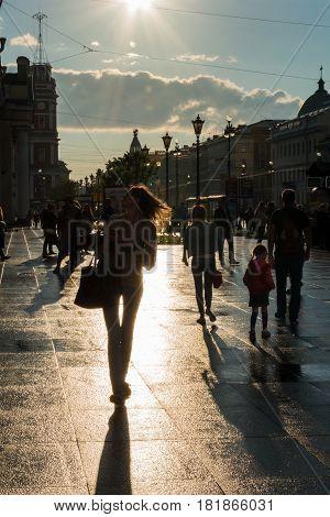 Street Scene With People Walking Along The Avenue In Saint Petersburg
