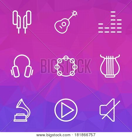 Audio Outlines Set. Collection Of Equalizer, Phonograph, Circle And Other Elements. Also Includes Symbols Such As Soundless, Tambourine, Guitar.
