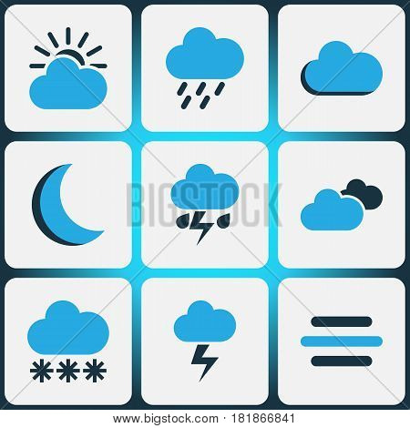 Weather Colored Icons Set. Collection Of Rainstorm, Night, Thunderstorm And Other Elements. Also Includes Symbols Such As Cloud, Storm, Night.