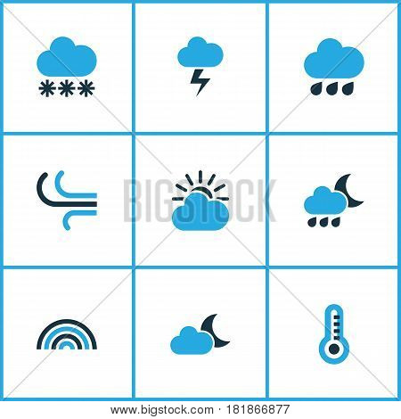 Climate Colored Icons Set. Collection Of Wind, Overcast, Rainfall And Other Elements. Also Includes Symbols Such As Cloud, Winter, Lightning.