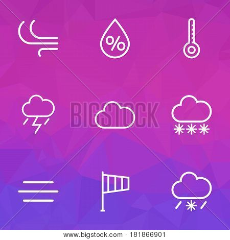 Weather Outlines Set. Collection Of Cloud, Lightning, Windsock And Other Elements. Also Includes Symbols Such As Humidity, Line, Windsock.
