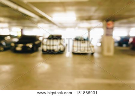 Blurred Car Park Indoor Of Building