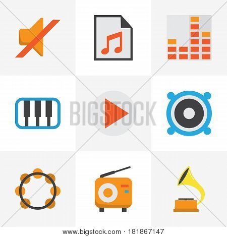 Audio Flat Icons Set. Collection Of Shellac, Loudspeaker, Quiet And Other Elements. Also Includes Symbols Such As Megaphone, Fm, Mute.