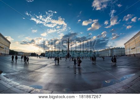 Magic White Night In The Palace Square, St. Petersburg, Russia. Taken Fisheye.
